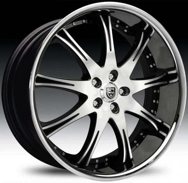 LX-9 BLACK MACHINED RIM with STAINLESS STEEL LIP by LEXANI WHEELS