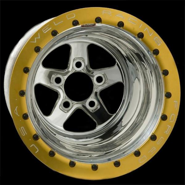 SPORTSMAN DRAG GOLD BEADLOCK POLISHED CENTER RIM by WELD RACING WHEELS