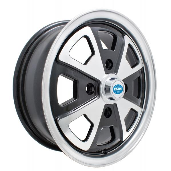 914 ALLOY GLOSS BLACK RIM with POLISHED LIP and SPOKES by EMPI VINTAGE VW