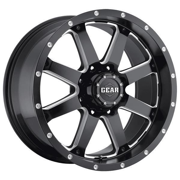 726MB BIG BLOCK GLOSS BLACK RIM w/MILLED ACCENTS by GEAR ALLOY WHEELS