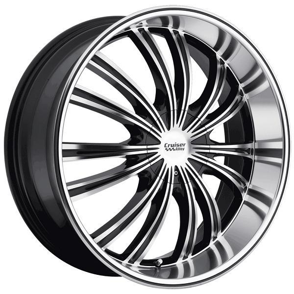 912MB SHADOW GLOSS BLACK RIM with MIRROR MACHINED FACE and LIP by CRUISER ALLOY WHEELS
