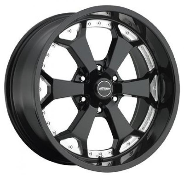ADRENALINE SERIES 8180 6-SPOKE GLOSS BLACK RIM with MACHINED ACCENTS by PRO COMP ALLOYS WHEELS