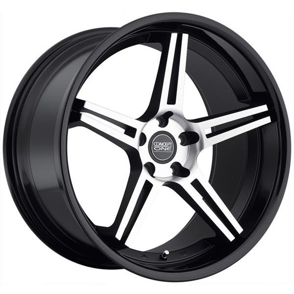CS-5.0 CONCAVE MATTE BLACK MACHINED RIM with GLOSS BLACK LIP by CONCEPT ONE WHEELS