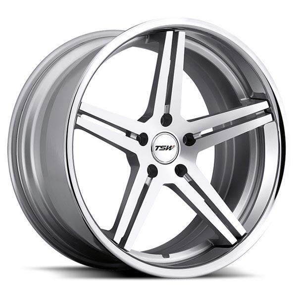 MIRABEAU MULTI PIECE SILVER RIM with MACHINED FACE and CHROME STAINLESS LIP by TSW WHEELS