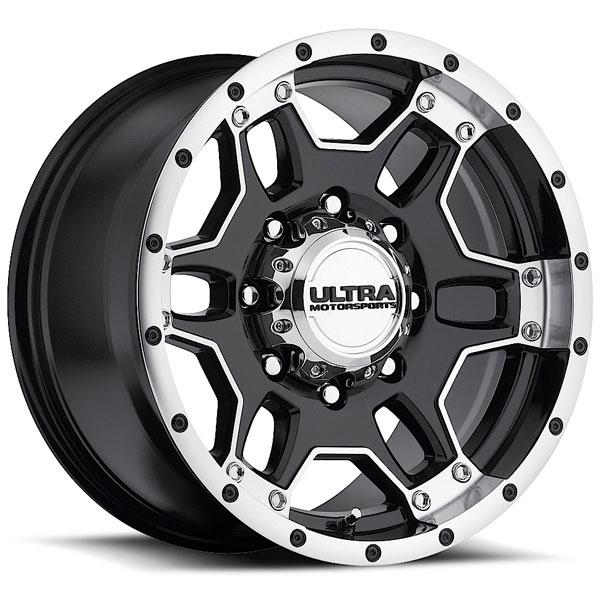 MONGOOSE 178 GLOSS BLACK RIM with DIAMOND CUT ACCENTS 8 LUG by ULTRA WHEELS