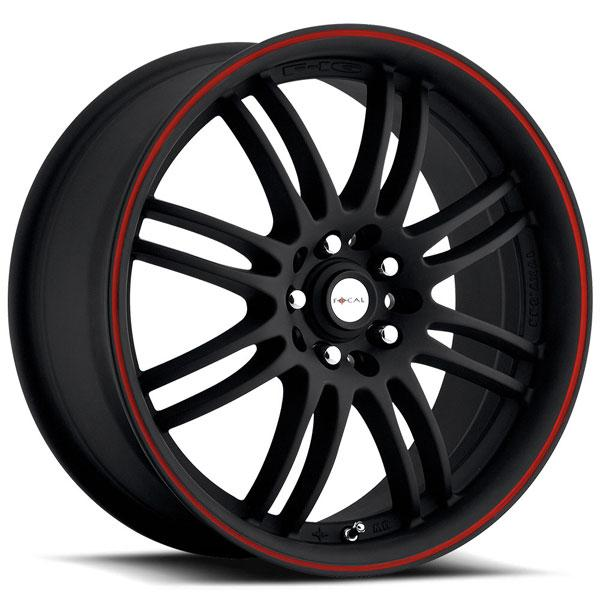 F16 163 MATTE BLACK RIM with RED LIP STRIPE by FOCAL WHEELS