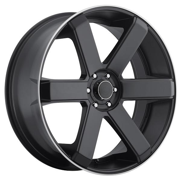 644B SATIN BLACK RIM with MIRROR MACHINED LIP 6-SPOKE by DROPSTARS WHEELS