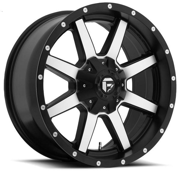 MAVERICK D537 BLACK RIM with MACHINED FACE by FUEL OFFROAD WHEELS