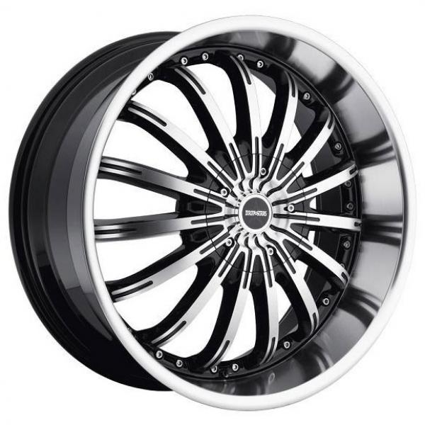 640MB BLACK RIM with MACHINED FACE and LIP by DROPSTARS WHEELS