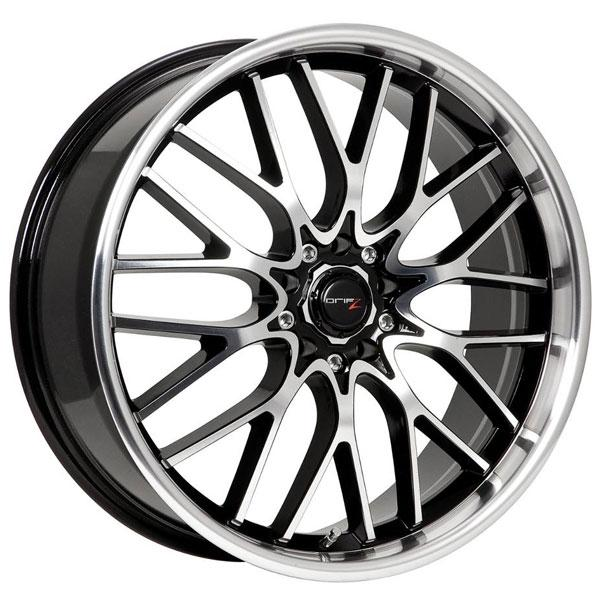 302MB VORTEX GLOSS BLACK RIM with MACHINED FACE and LIP by DRIFZ WHEELS