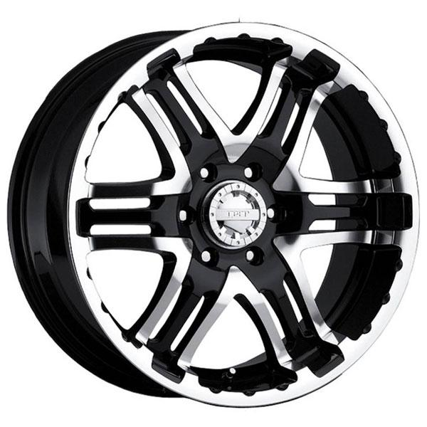 713MB DOUBLE PUMP BLACK RIM with MIRROR MACHINED FACE and LIP by GEAR ALLOY WHEELS