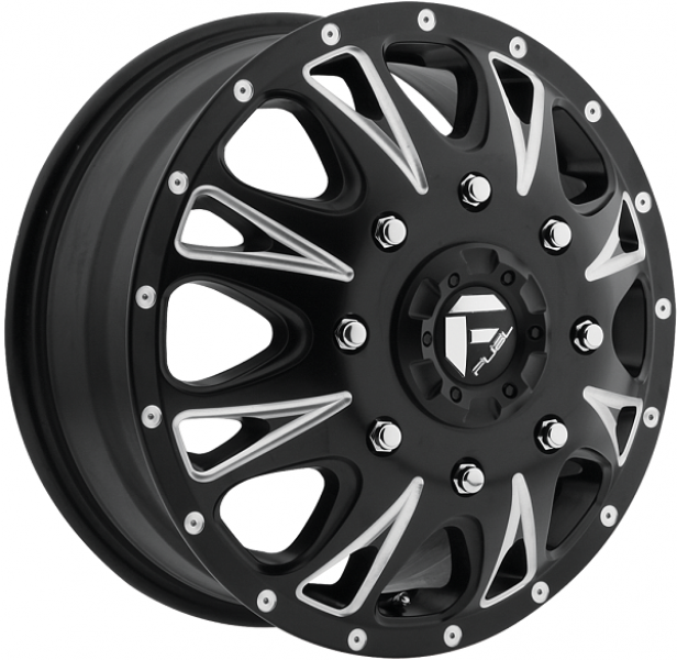 THROTTLE DUALLY D513 BLACK MILLED FRONT RIM by FUEL OFFROAD WHEELS