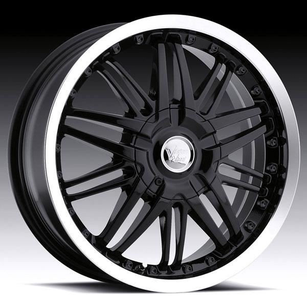 AVENGER 381 FWD GLOSS BLACK RIM with MACHINED LIP by VISION WHEELS