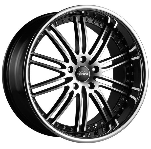 HENNESSEY BLACK RIM with MACHINED FACE and CHROME LIP by VERTINI WHEELS
