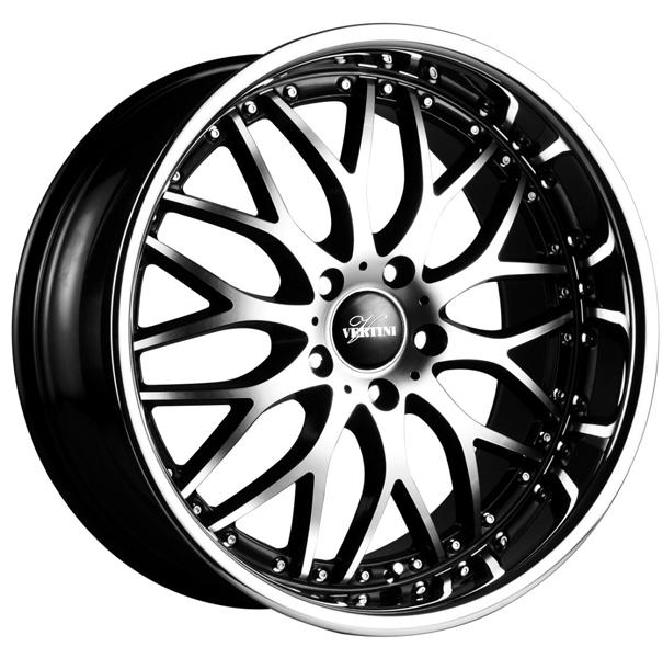 RIVIERA BLACK RIM with MACHINED FACE and CHROME LIP by VERTINI WHEELS