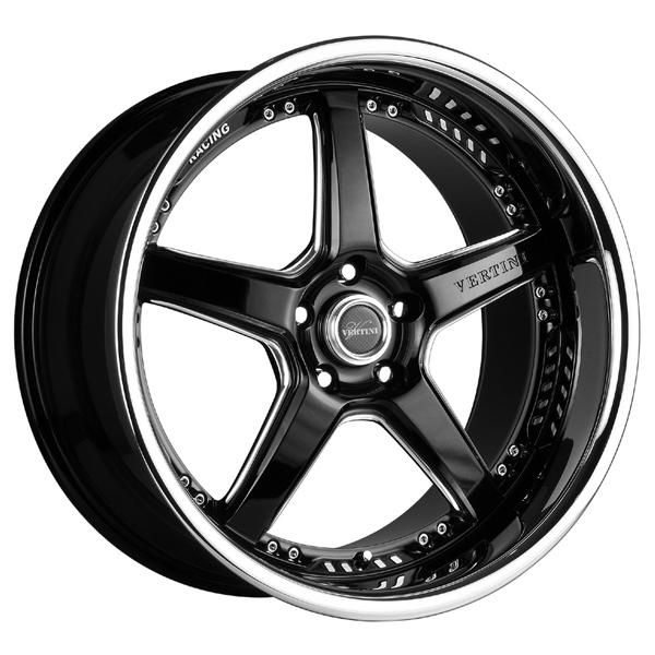 DRIFT BLACK RIM with MACHINED ACCENTS and CHROME LIP by VERTINI WHEELS