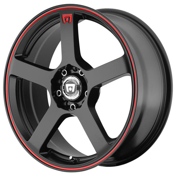 MR116 MATTE BLACK RIM with RED STRIPE by MOTEGI RACING WHEELS