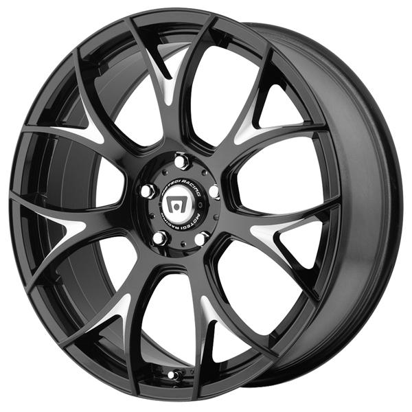 MR126 GLOSS BLACK MILLED RIM by MOTEGI RACING WHEELS
