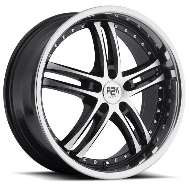 A2K 720 SILVER RIM with BLACK TRIM and STAINLESS STEEL LIP by REV WHEELS