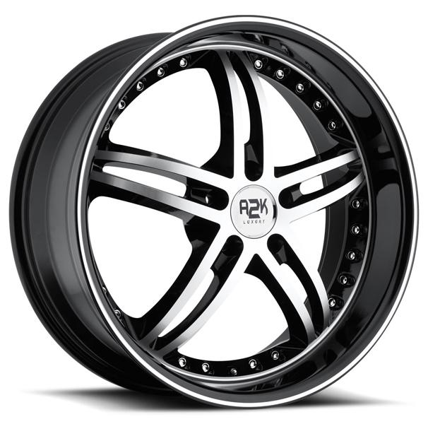 A2K 339 BLACK RIM with MACHINED FACE by REV WHEELS