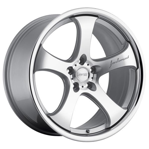 CV2 SILVER RIM with MACHINED FACE and CHROME LIP by MRR DESIGN WHEELS