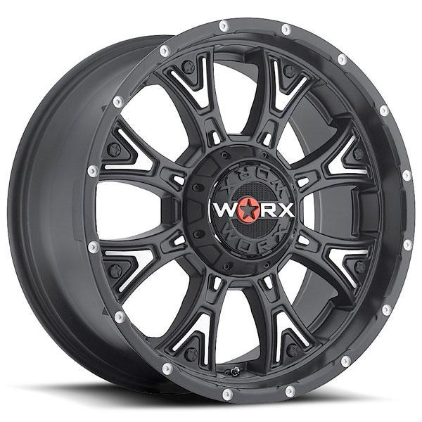 805 TYRANT SATIN BLACK RIM with MACHINED ACCENTS by WORX WHEELS