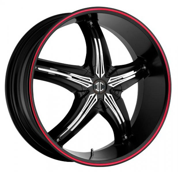 FIERO N05 GLOSSY BLACK/RED RIM by 2 CRAVE WHEELS