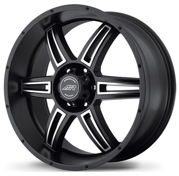 AR890 SATIN BLACK RIM with MACHINED FACE by AMERICAN RACING WHEELS