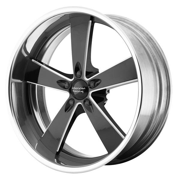 VN472 BURNOUT BLACK MILLED CENTER with POLISHED RIM by AMERICAN RACING WHEELS