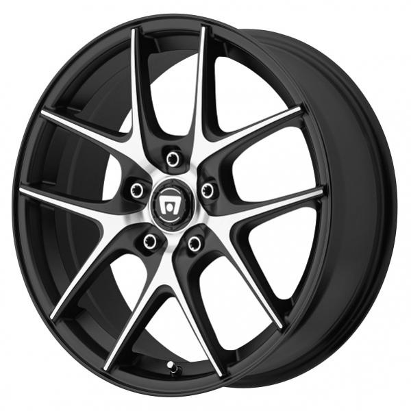 MR128 SATIN BLACK RIM with MACHINED FACE by MOTEGI RACING WHEELS