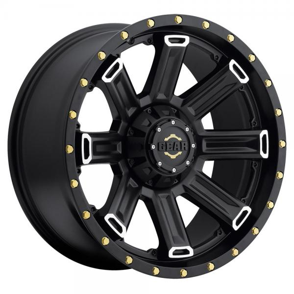 738MB SWITCHBACK BLACK WITH MACHINED ACCENTS by GEAR ALLOY WHEELS