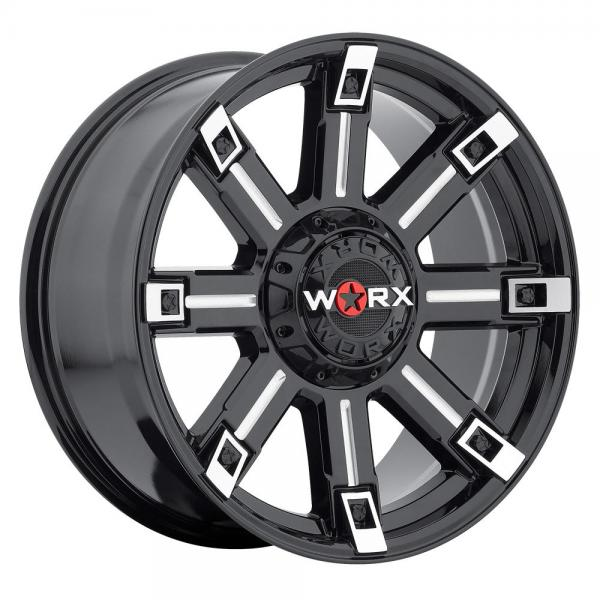 806 TRITON GLOSS BLACK RIM with MILLED ACCENTS by WORX WHEELS