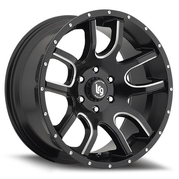108 TWO TIME BLACK RIM with MILLED SPOKES by LRG WHEELS