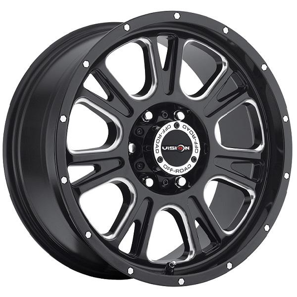 FURY 399 RWD OFF-ROAD GLOSS BLACK RIM with MILLED SPOKES by VISION WHEELS