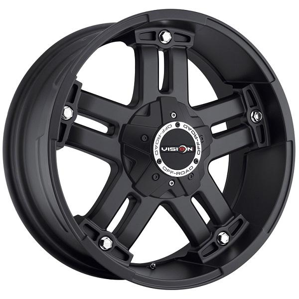 WARLORD 394 RWD OFF-ROAD MATTE BLACK RIM with COVERED CAP by VISION WHEELS