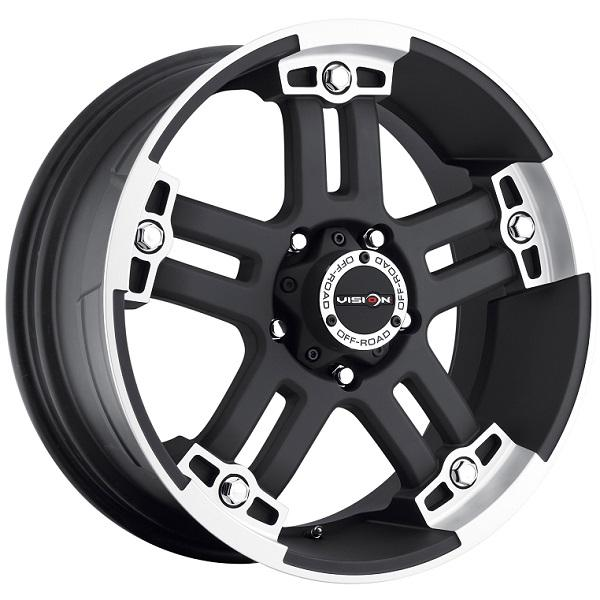 WARLORD 394 RWD OFF-ROAD MATTE BLACK RIM with MACHINED FACE by VISION WHEELS