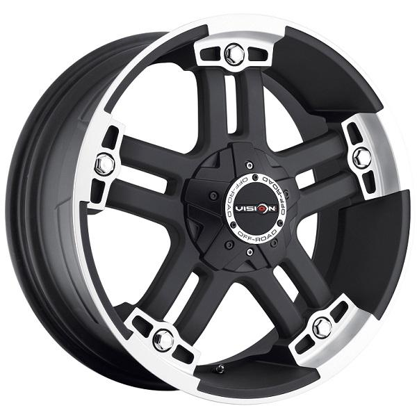 WARLORD 394 RWD OFF-ROAD MATTE BLACK RIM with MACHINED FACE and COVERED CAP by VISION WHEELS