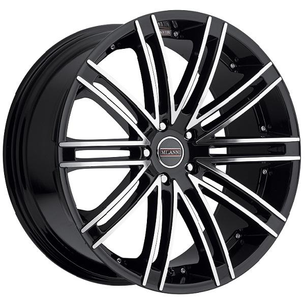 KAHN 9032 FWD GLOSS BLACK RIM with MIRROR MACHINED FACE by MILANNI WHEELS