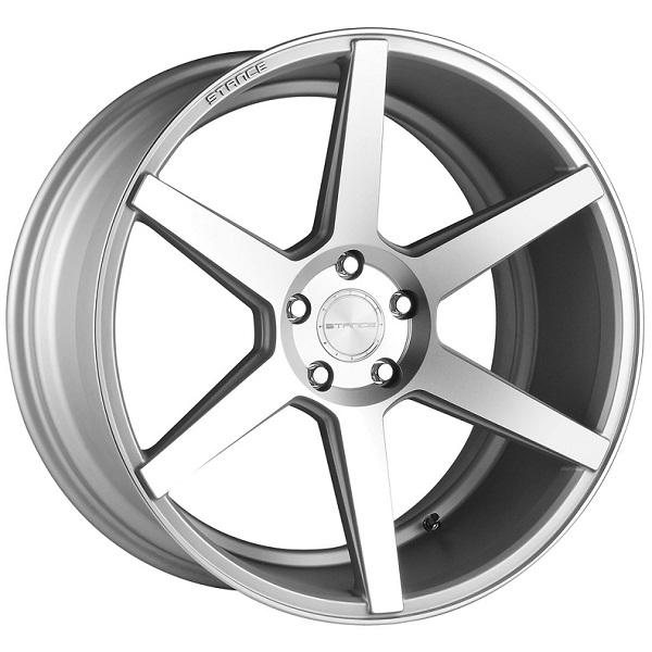 SC-6IX MATTE SILVER RIM with MACHINED FACE by STANCE WHEELS