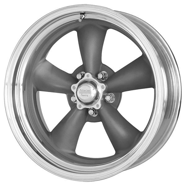 VN215 CLASSIC TORQ THRUST II 1 PC GRAY CENTER RIM with POLISHED BARREL by AMERICAN RACING WHEELS