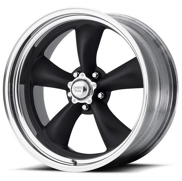 VNB405 TORQ THRUST II 2-PC BLACK RIM with POLISHED LIP by AMERICAN RACING WHEELS
