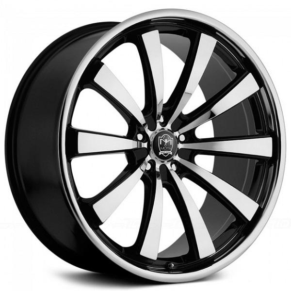 407MB MAJESTIC GLOSS BLACK RIM with MACHINED FACE and LIP by MOTIV WHEELS
