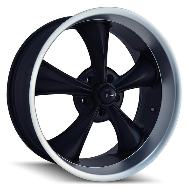 STYLE 695 BLACK RIM with MACHINED LIP by RIDLER WHEELS