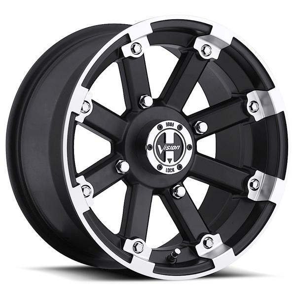 LOCK OUT 393 ATV MATTE BLACK RIM with MACHINED LIP by VISION WHEELS