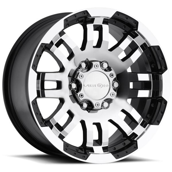 WARRIOR 375 OFF-ROAD GLOSS BLACK RIM with MACHINED FACE by VISION WHEELS
