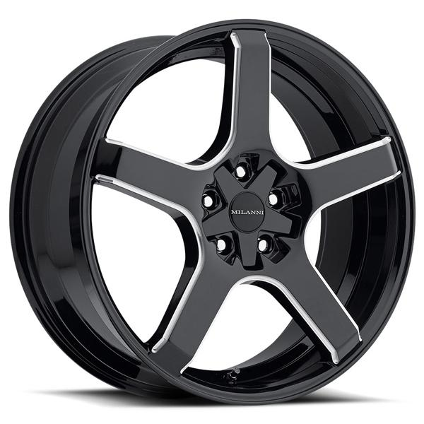 VK-1 464 FWD GLOSS BLACK RIM with MILLED SPOKES by MILANNI WHEELS