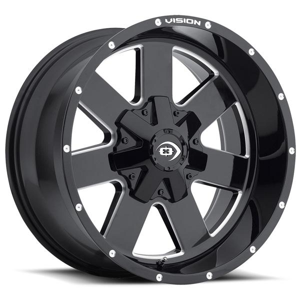 ARC 411 OFF-ROAD GLOSS BLACK RIM with MILLED SPOKES by VISION WHEELS