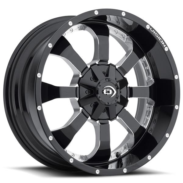 LOCKER 420 OFF-ROAD GLOSS BLACK RIM with MILLED SPOKES by VISION WHEELS
