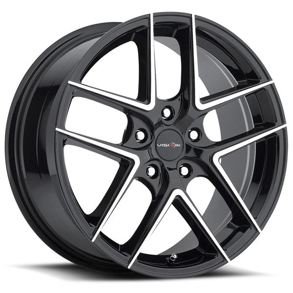 MANTIS 467 GLOSS BLACK RIM with MACHINED FACE by VISION WHEELS