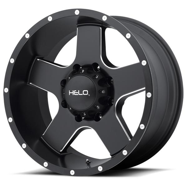 HE886 SATIN BLACK RIM with MILLED ACCENTS by HELO WHEELS